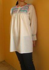 メキシコ刺繍チアパスのロココ刺繍ブラウス長袖