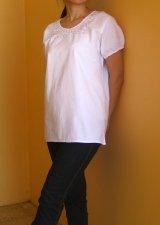 メキシコ刺繍サンアントニーノブラウス・パフスリーブ・マンタ・ホワイト・ホワイト刺繍