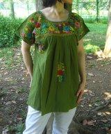 メキシコ刺繍サン・アントニーノ刺繍ブラウス・グリーン
