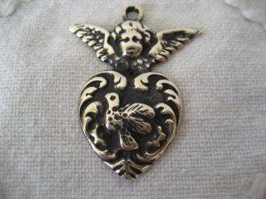 画像2: メキシコシルバーペンダントヘッド・ミラグロス・ハート&天使