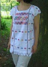 メキシコ・アムスゴ族の手織りブラウス・ホワイト
