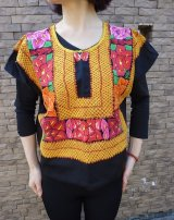 メキシコ刺繍テワナ刺繍ブラウス・サテン・脇縫いなし・クッションカバーにも