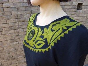画像3: メキシコ刺繍マサテコ族の鳥刺繍ブラウス・オリーブグリーン