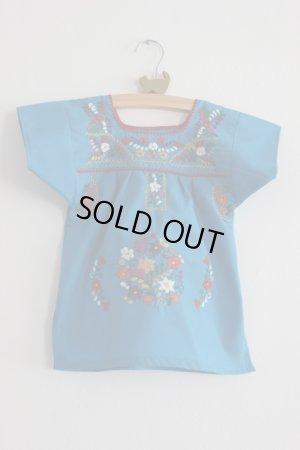 画像1: ベビー用刺繍ワンピース1〜2歳用・ブルー
