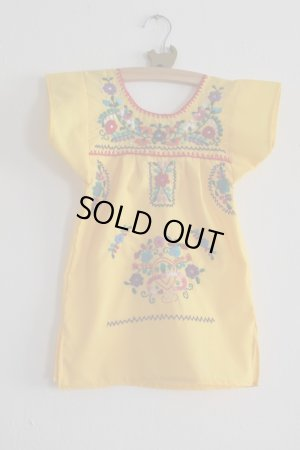 画像1: ベビー用メキシコ刺繍ワンピース1〜2歳用・イエロー