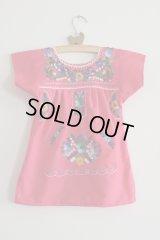 ベビー用メキシコ刺繍ワンピース1〜2歳用・ピンク