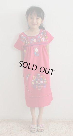 画像1: 子供用刺繍ワンピース・ピンク6〜7歳用