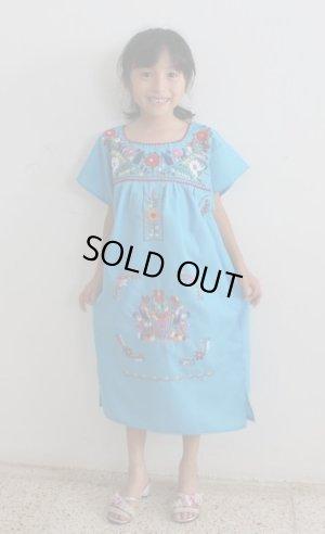 画像1: 子供用刺繍ワンピース・ブルー・6〜7歳用