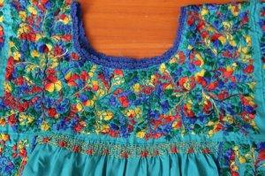 画像4: メキシコ刺繍サン・アントニーノ刺繍ワンピース・ターコイズ