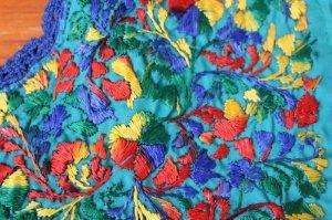 画像5: メキシコ刺繍サン・アントニーノ刺繍ワンピース・ターコイズ