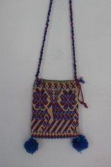 オトミ族の毛糸刺繍ショルダーバック(S)パープル
