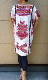 メキシコ刺繍・チナンテコ族の手織鳥刺繍ワンピース