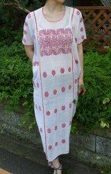 メキシコ・アムスゴ族の手織りガーゼ刺繍ワンピース・ビンテージ