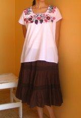 メキシコ刺繍サン・アントニーノ刺繍ブラウス・鳥と葡萄