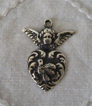 画像1: メキシコシルバーペンダントヘッド・ミラグロス・ハート&天使