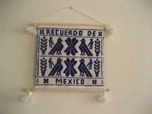 画像1: オトミ族のウール織物タペストリー(L)ブルー