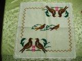 メキシコ刺繍・マサテコ族の刺繍クロス・2羽の鳥
