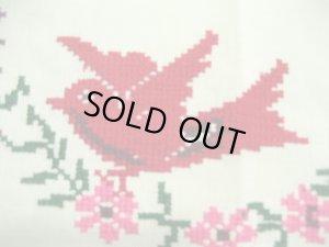画像2: メキシコ刺繍・マサテコ族の刺繍クロス・2羽の赤い鳥