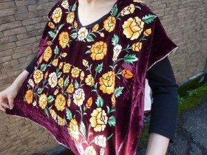 画像3: メキシコ刺繍ブラウス・テワナ・レッドパープル・手刺繍・脇縫いなし・クッションカバーなどにも