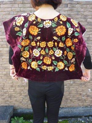 画像2: メキシコ刺繍ブラウス・テワナ・レッドパープル・手刺繍・脇縫いなし・クッションカバーなどにも