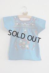 ベビー用刺繍ワンピース1〜2歳用・ブルー