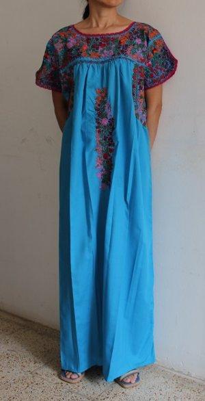 画像1: メキシコ刺繍サン・アントニーノ刺繍ワンピース・ライトブルー