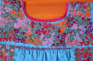 画像4: メキシコ刺繍サン・アントニーノ刺繍ワンピース・ライトブルー