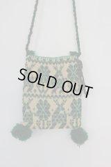 オトミ族の毛糸刺繍ショルダーバック(S)グリーン
